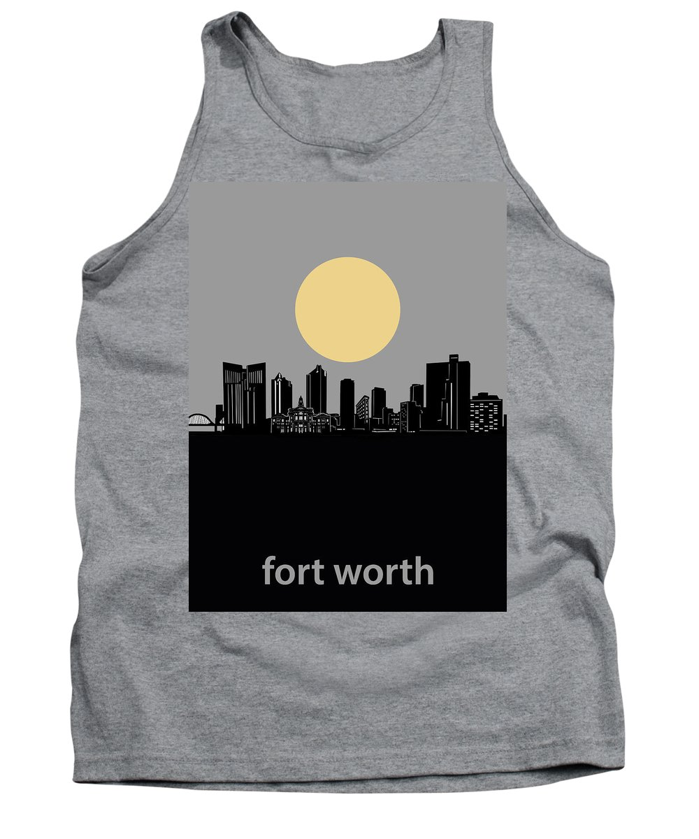 Fort Worth Tank Top featuring the digital art Fort Worth Skyline Minimalism Grey by Bekim Art