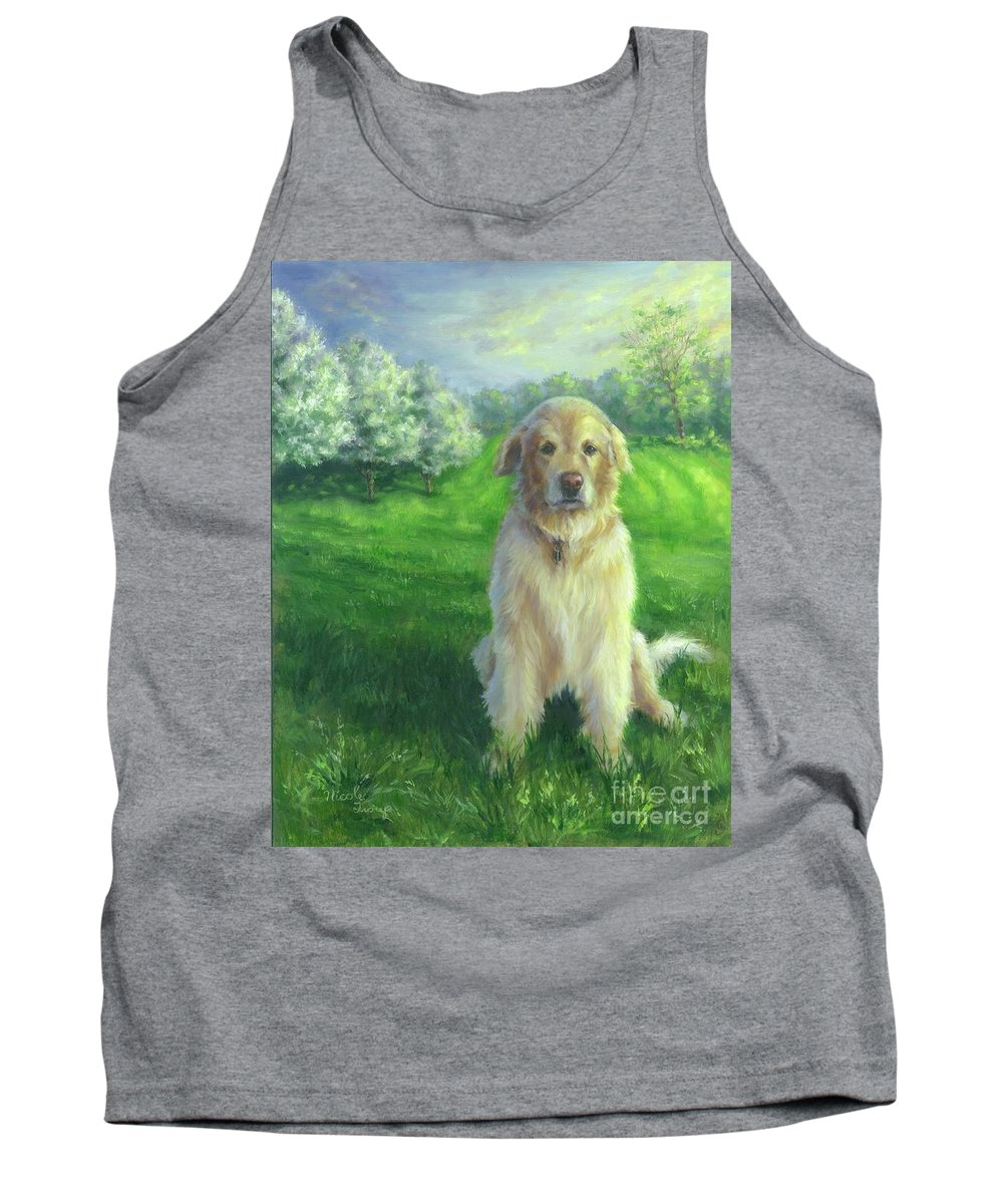 Golden Retriever Tank Top featuring the painting Golden Retriever by Nicole Troup