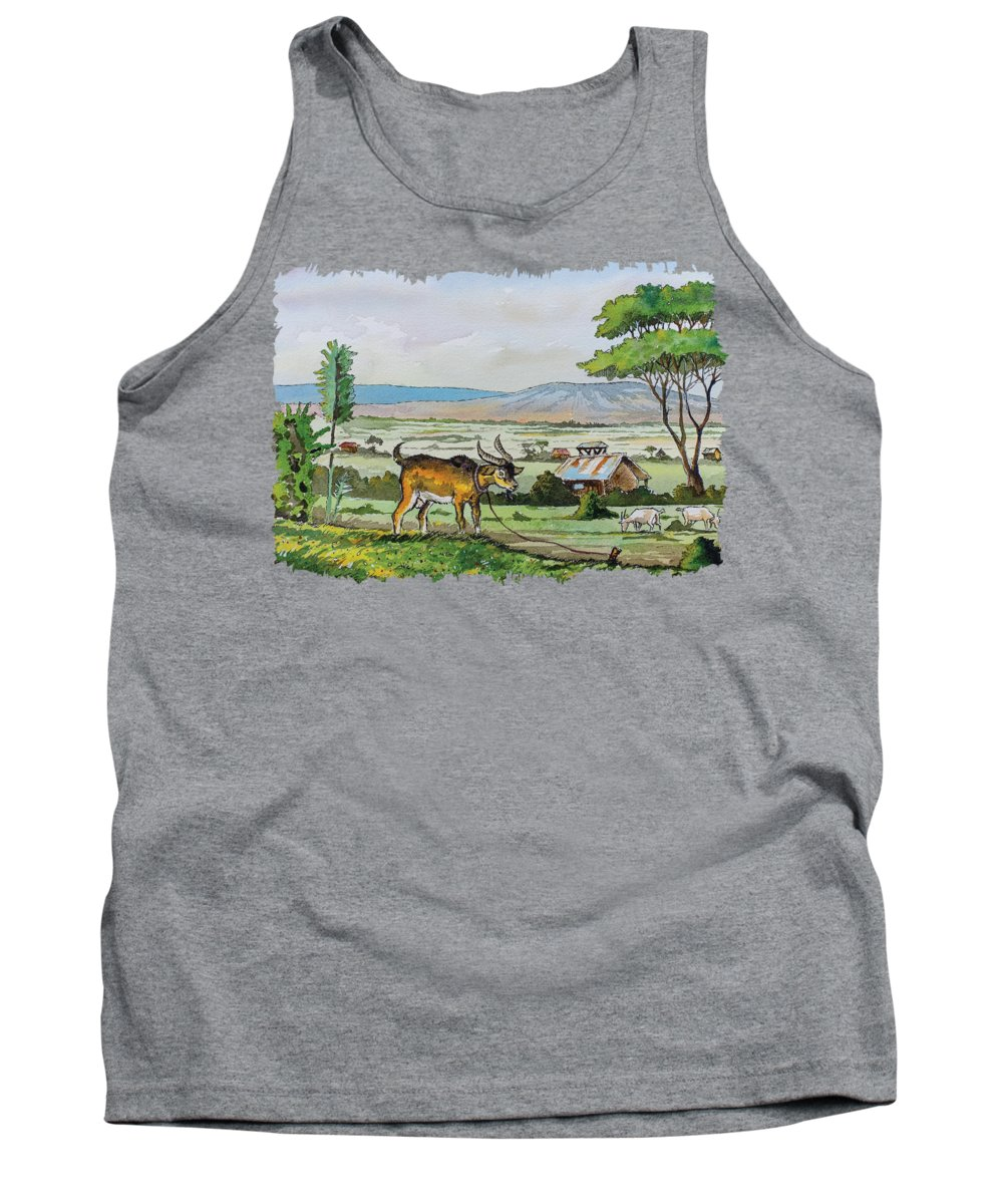He-goat Tank Top featuring the painting He-goat And Homes by Anthony Mwangi