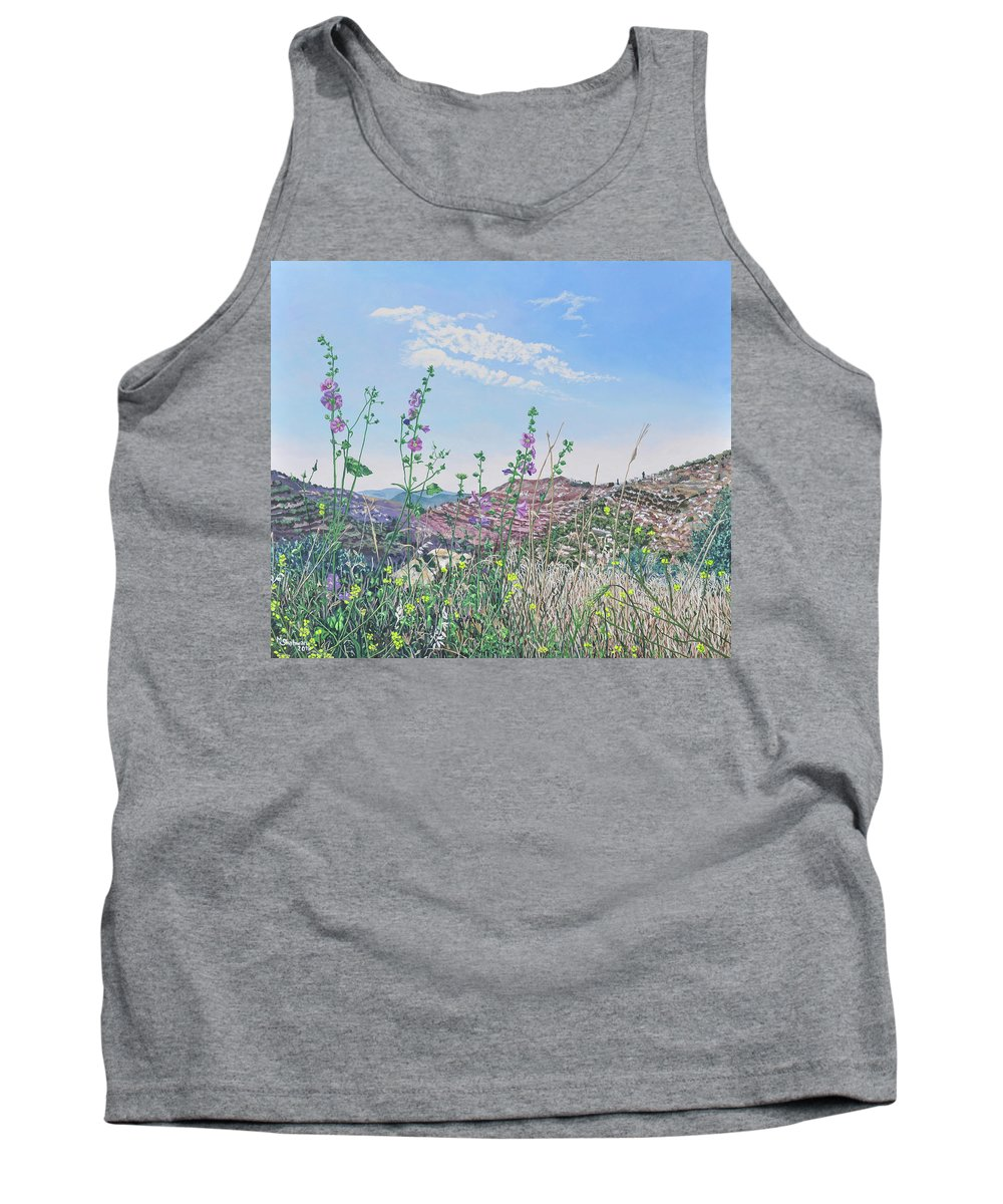 Hollyhocks Tank Top featuring the painting Hollyhocks Near Beit Jala by Marlene Shahwan