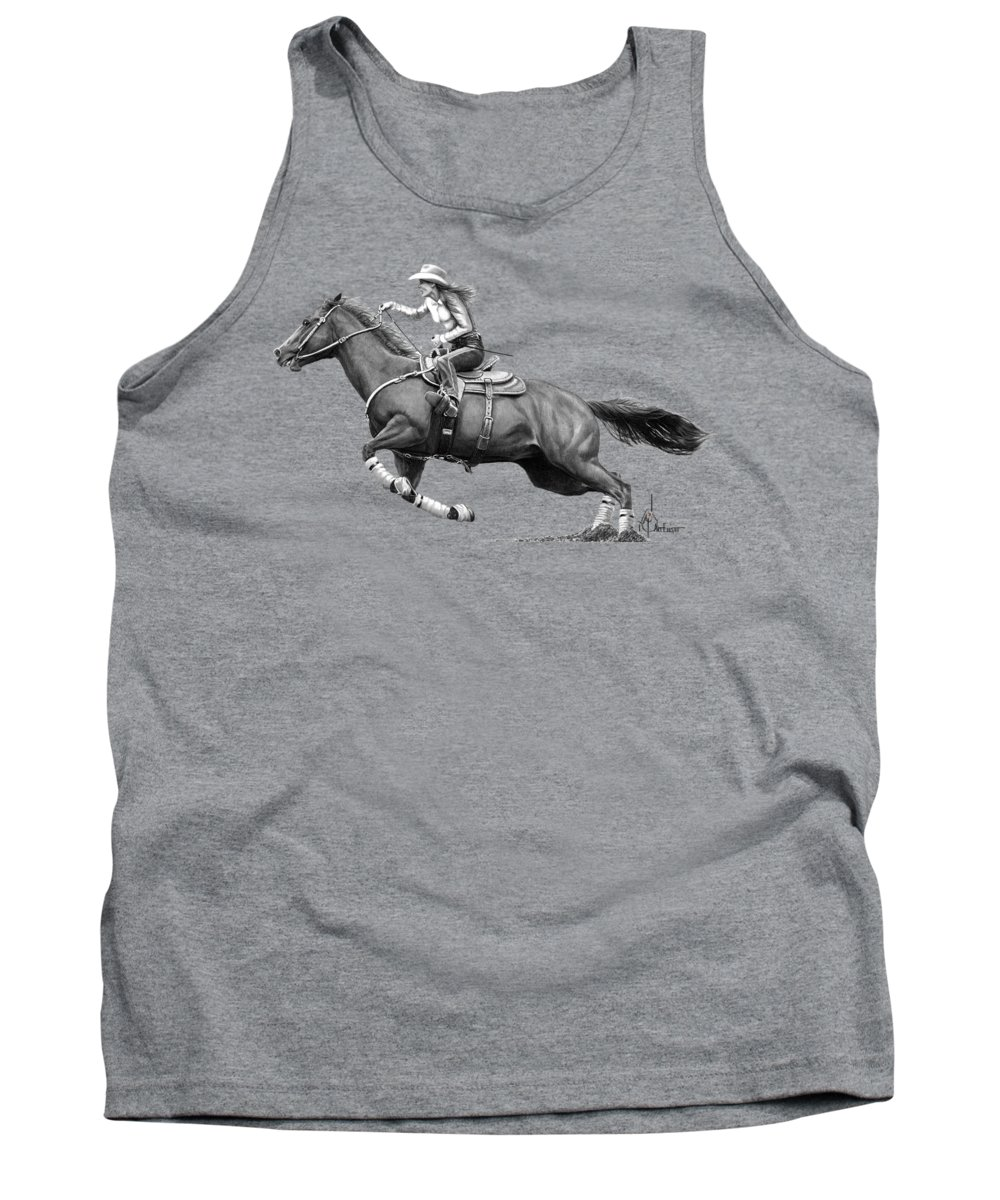 Pencil Tank Top featuring the drawing Horse and Rider drawing by Murphy Art Elliott