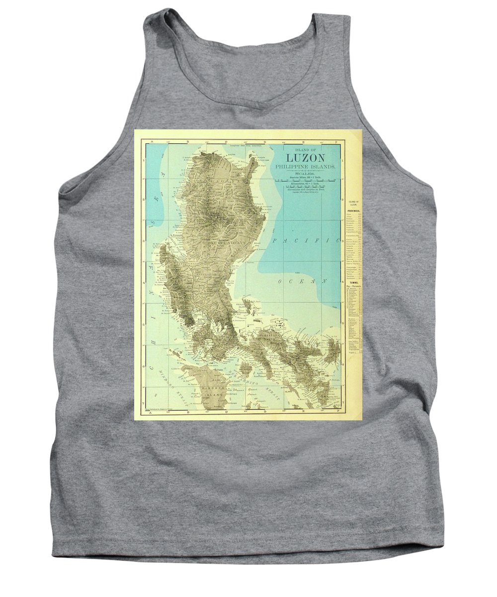 Island Of Luzon Tank Top featuring the digital art Island Of Luzon - Old Cartographic Map - Antique Maps by Siva Ganesh