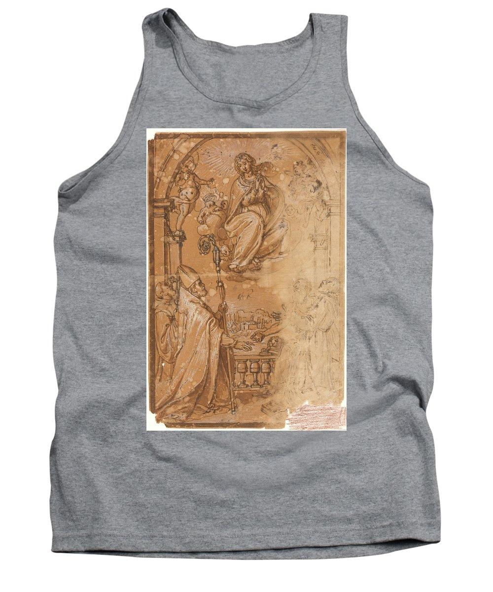 Anonimo Tank Top featuring the painting La Virgen En Gloria Apareciendose A Varios Santos by Anonimo