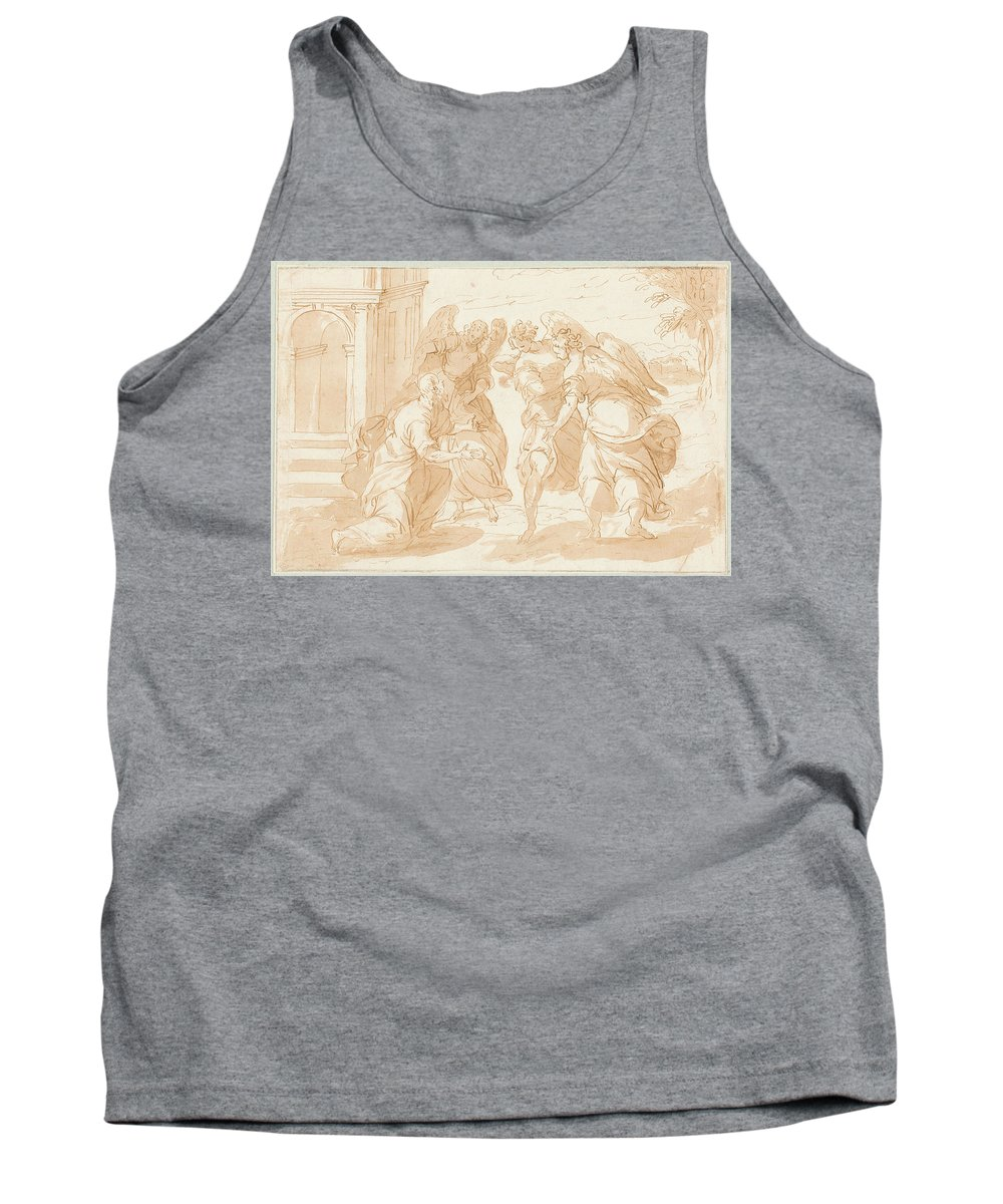 Anonimo Tank Top featuring the painting Lot Y Los Tres Angeles by Anonimo
