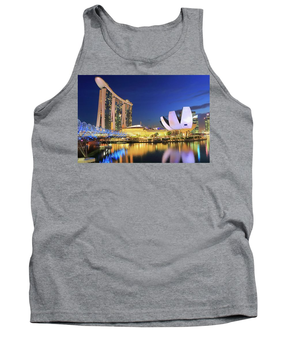 Asia Tank Top featuring the photograph Marina Bay Sands Art Science Museum And Helix Bridge At Dusk Singapore by Ivan Pendjakov
