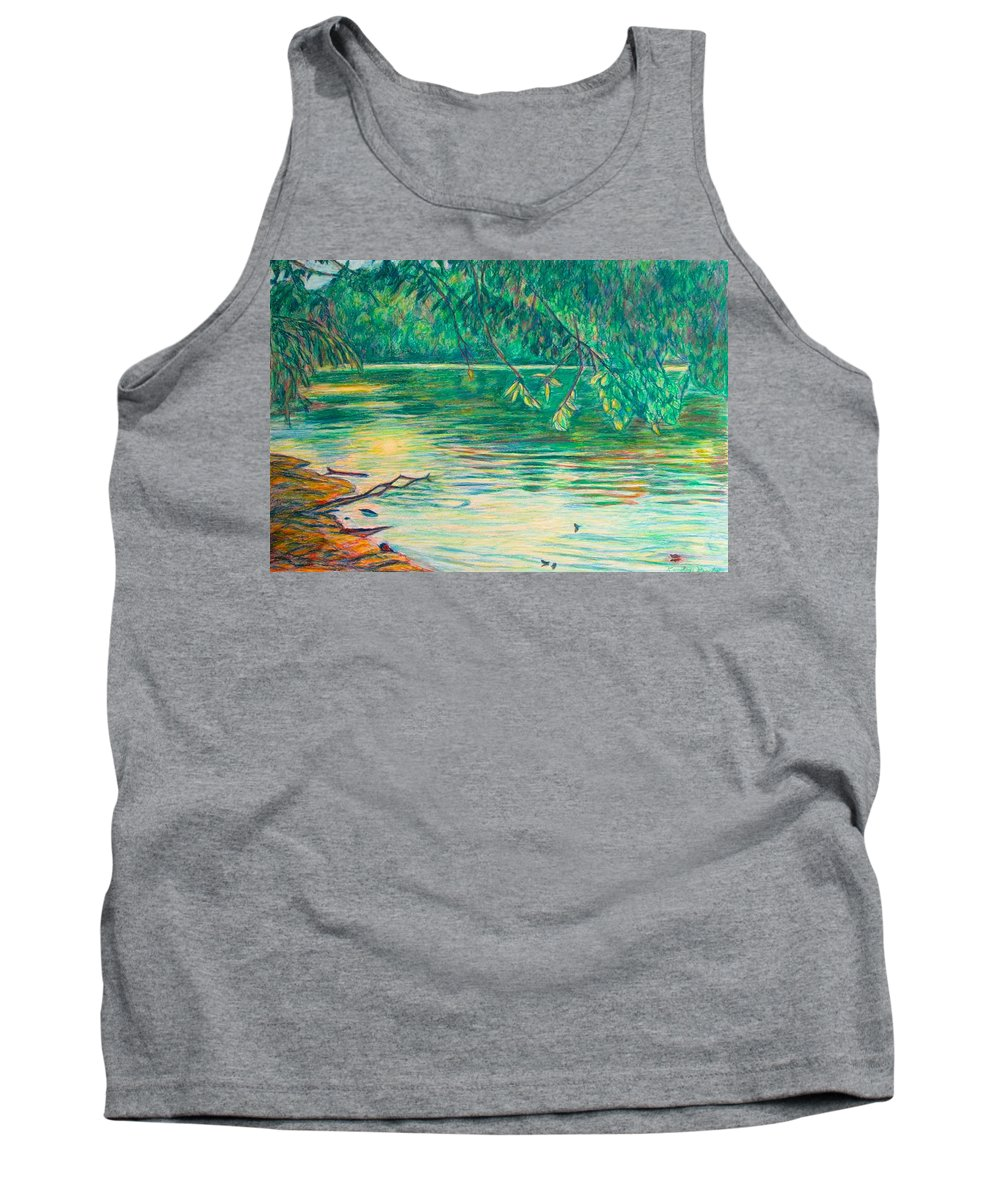 Landscape Tank Top featuring the painting Mid-Spring on the New River by Kendall Kessler