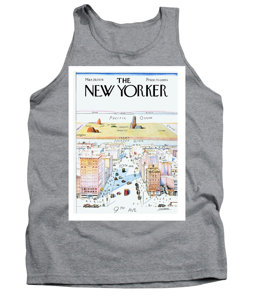#condenastnewyorkercover Tank Top featuring the painting New Yorker March 29, 1976 by Saul Steinberg