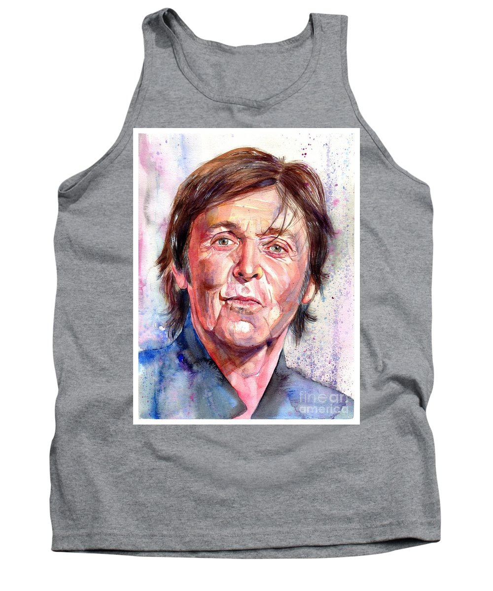 Paul Tank Top featuring the painting Paul McCartney Watercolor by Suzann Sines