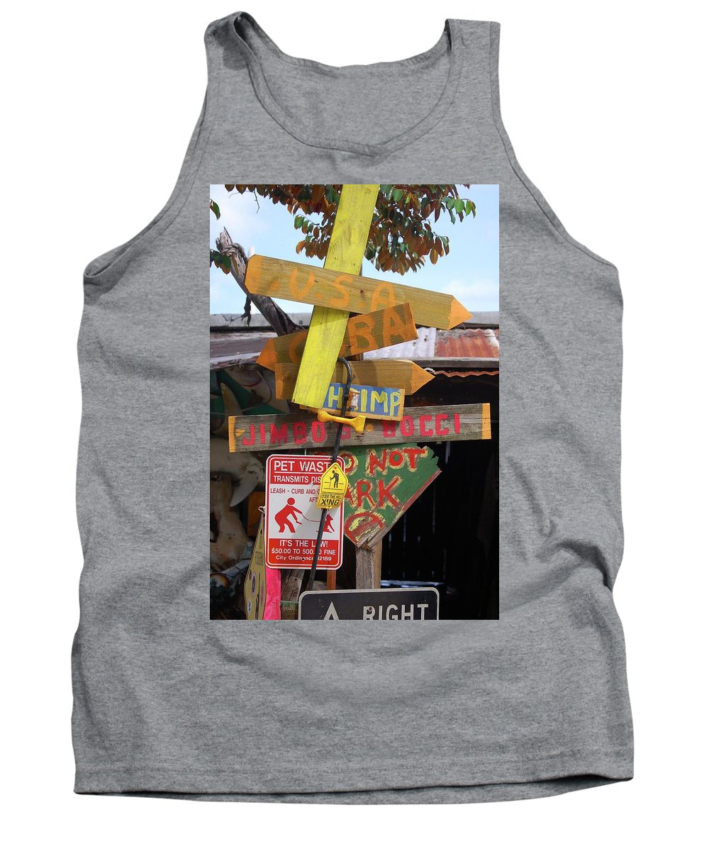 Sign Tank Top featuring the photograph Signage At Jimbo's by Richard Pross