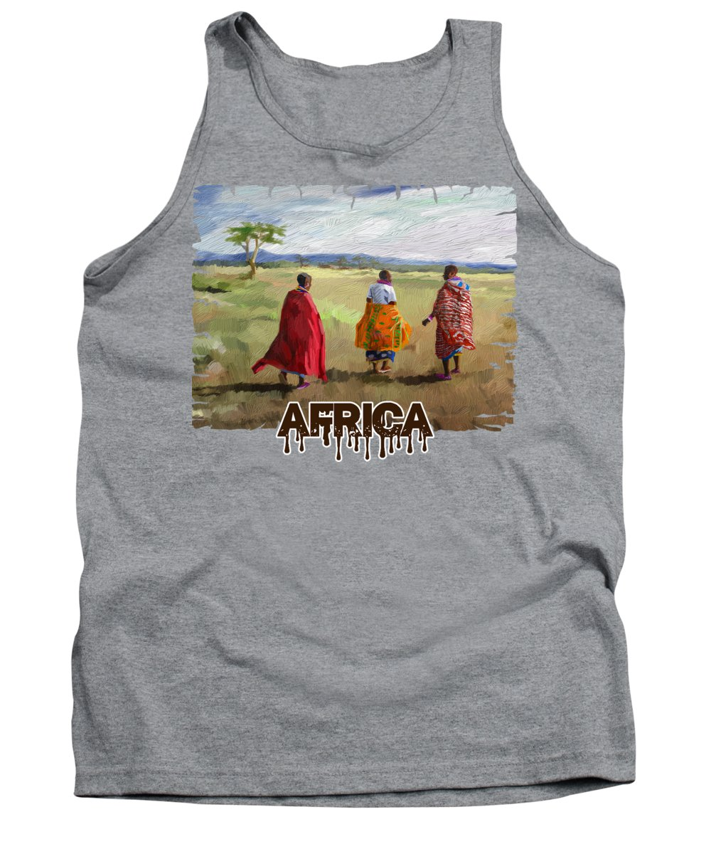 Print Tank Top featuring the painting The Long Walk by Anthony Mwangi