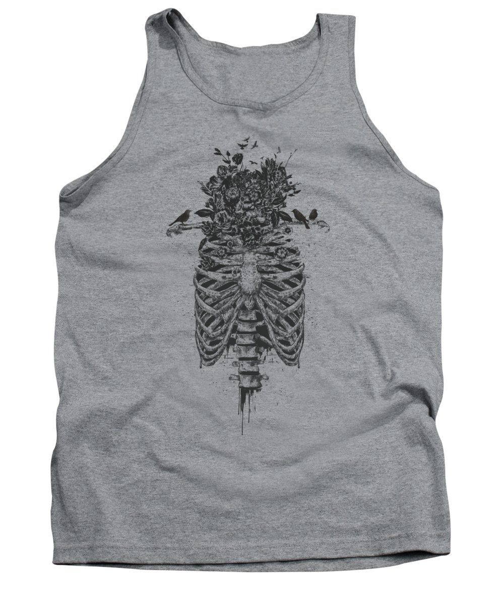 Skeleton Tank Top featuring the drawing Tree of life by Balazs Solti