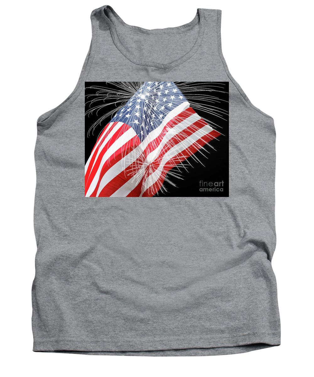 Fireworks Tank Top featuring the photograph Tribute To The Usa by Terri Morris