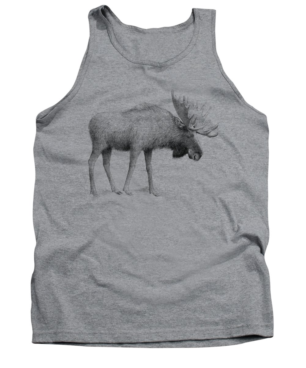 Moose Tank Top featuring the drawing Winter Moose by Eric Fan