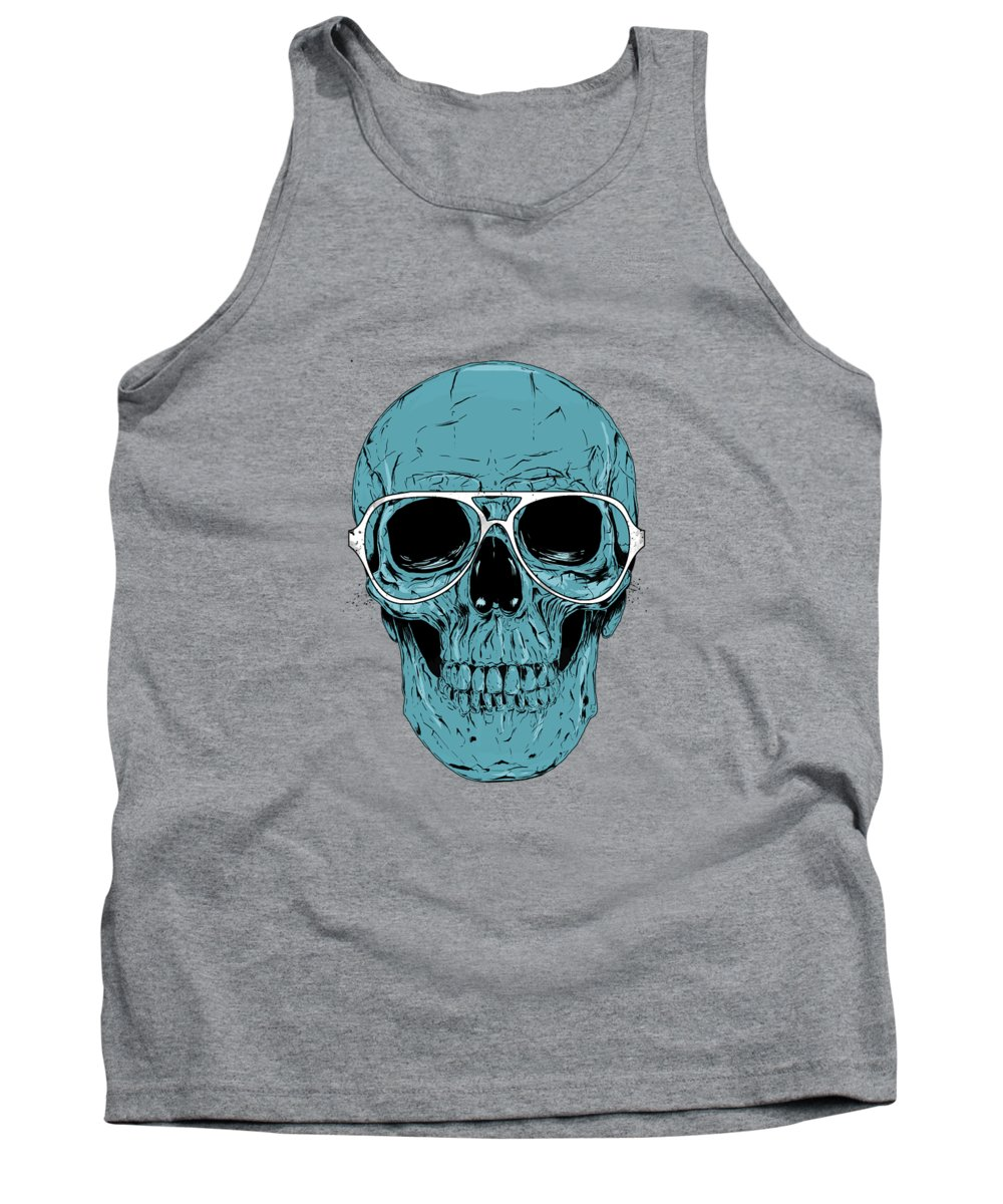 Skull Tank Top featuring the drawing Blue skull by Balazs Solti