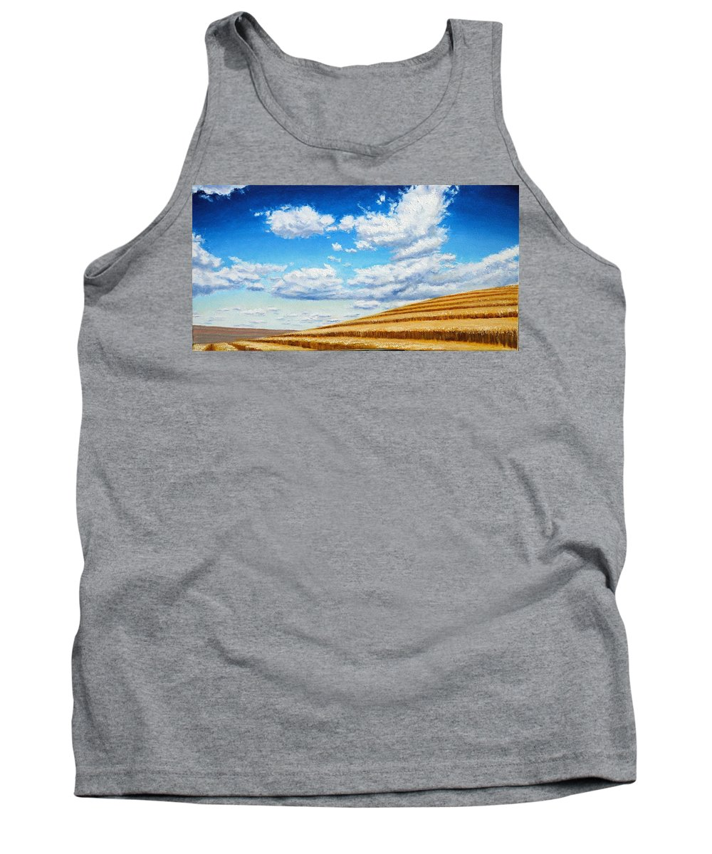 Palouse Tank Top featuring the painting Clouds on the Palouse near Moscow Idaho by Leonard Heid
