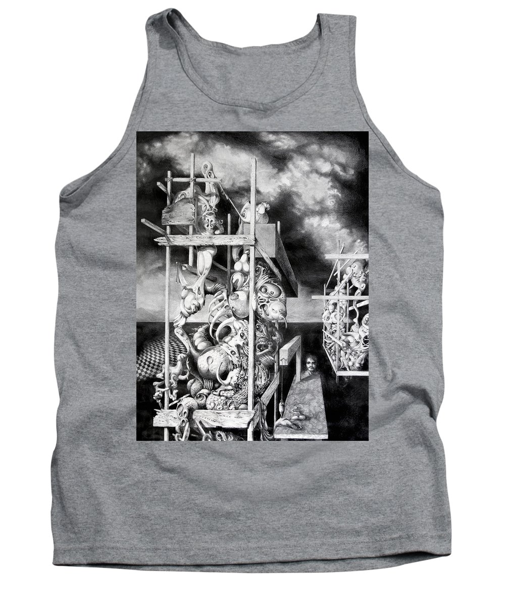 Surrealism Tank Top featuring the drawing Cthulhu Monuments by Otto Rapp