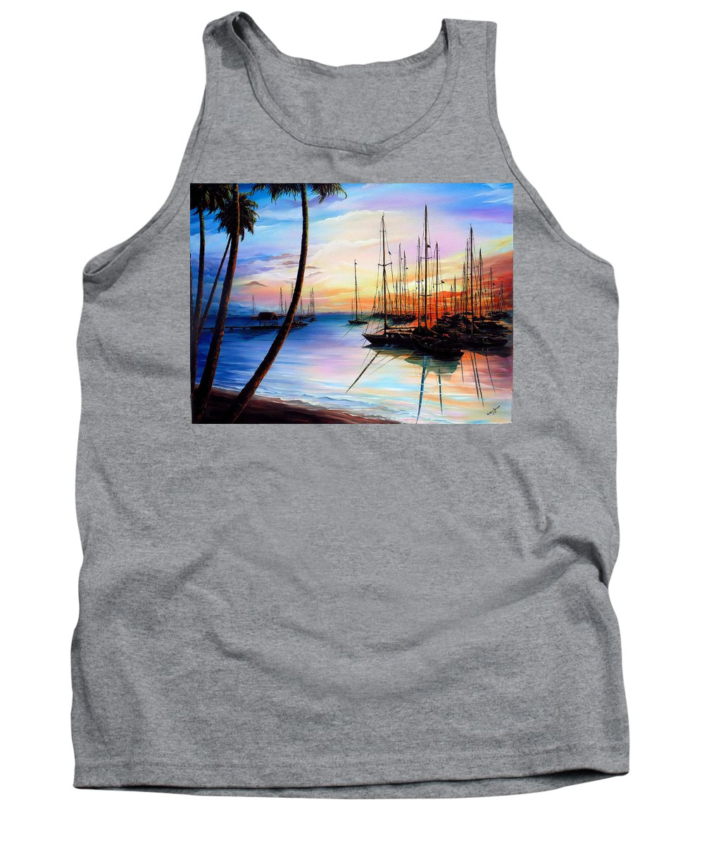 Ocean Painting Seascape Yacht Painting Sailboat Painting Sunset Painting Tropical Painting Caribbean Painting Yacht Painting At The End Of A Yachting Regatta At Pigeon Point Tobago Painting Tank Top featuring the painting DAYS END Yachting Regatta At Pigeon Point Tobago by Karin Dawn Kelshall- Best