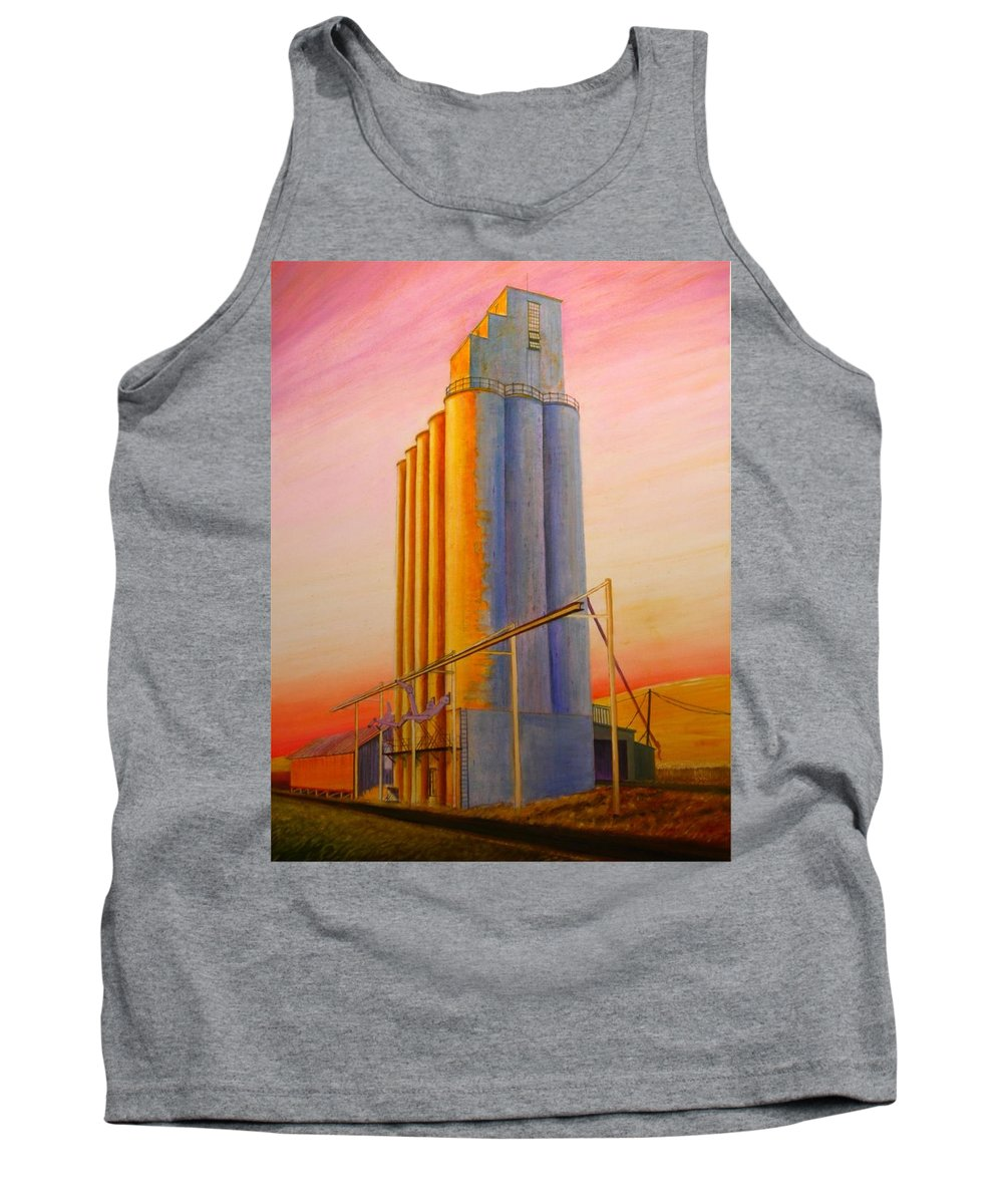 Grain Tank Top featuring the painting Endicotte Silos by Leonard Heid