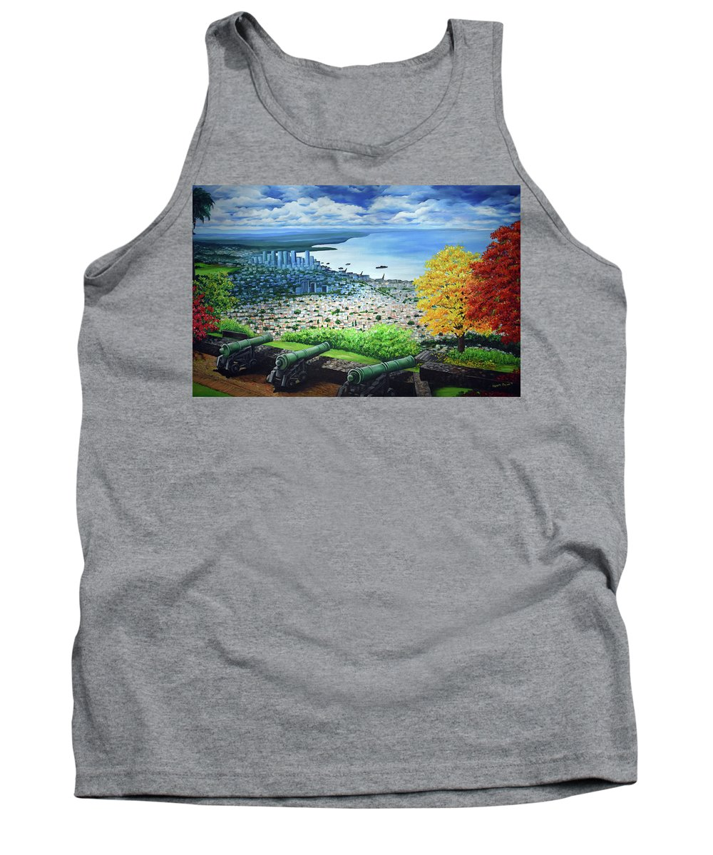 Fort Tank Top featuring the painting FORT GEORGE  Trinidad by Karin Dawn Kelshall- Best