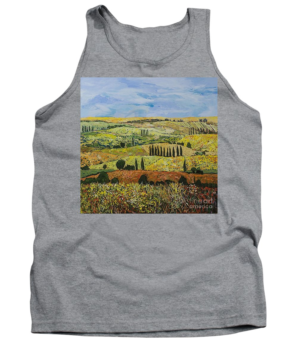 Landscape Tank Top featuring the painting October Liberation by Allan P Friedlander