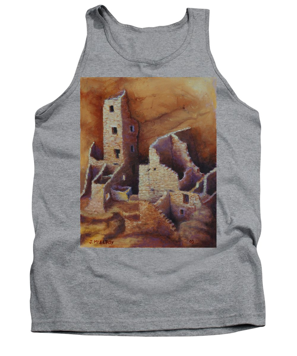 Anasazi Tank Top featuring the painting Square Tower Ruins by Jerry McElroy