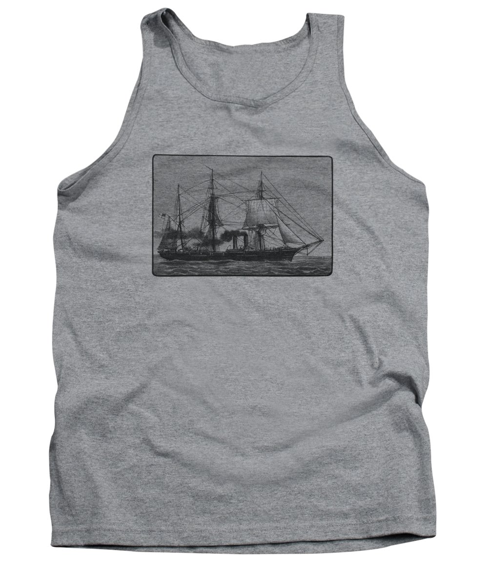 Ship Tank Top featuring the digital art Steamship by Madame Memento