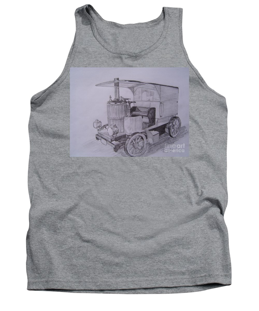 Automobile Tank Top featuring the drawing The Steamer by Anthony Dunphy