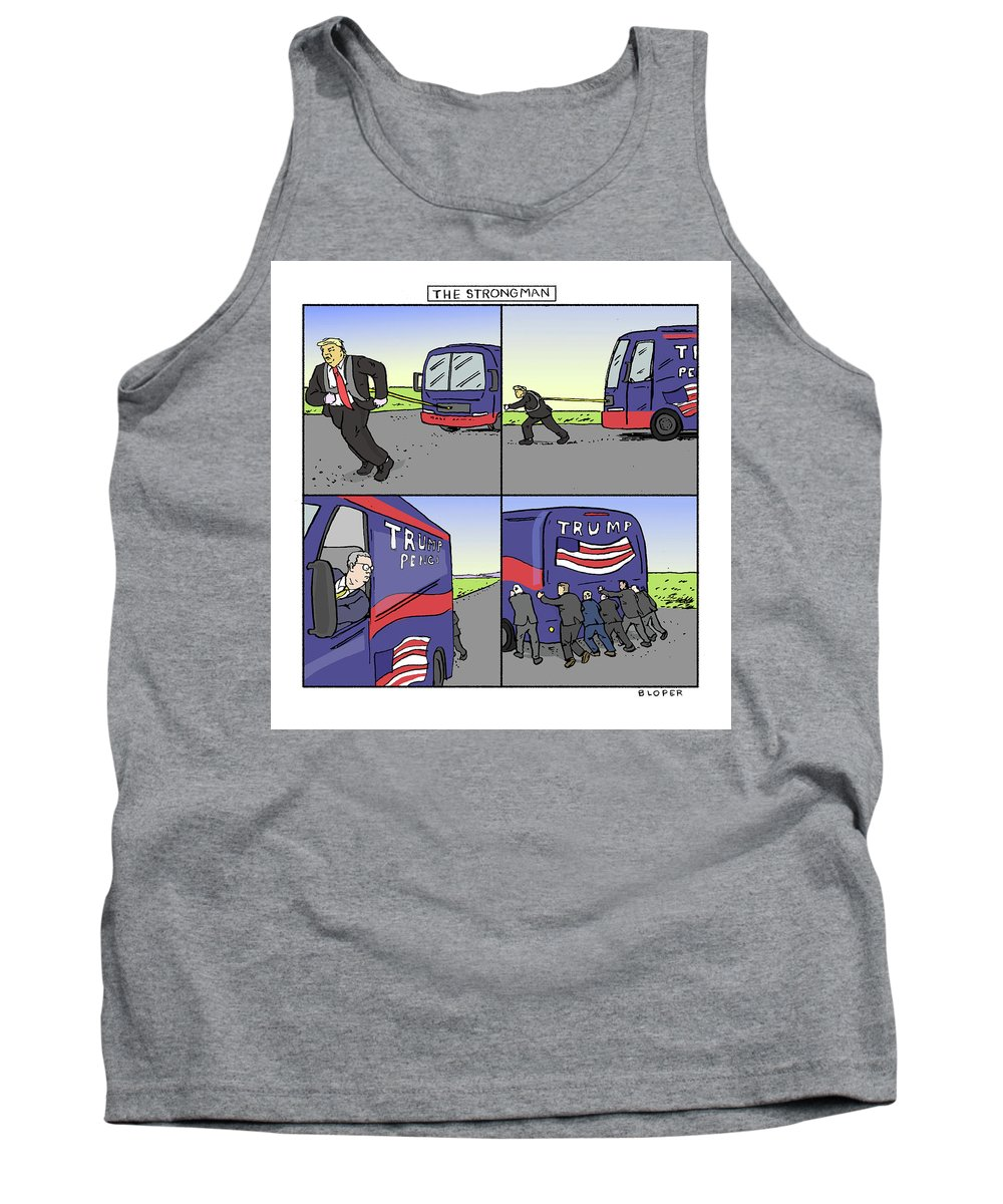 Captionless Tank Top featuring the drawing The Strongman by Brendan Loper