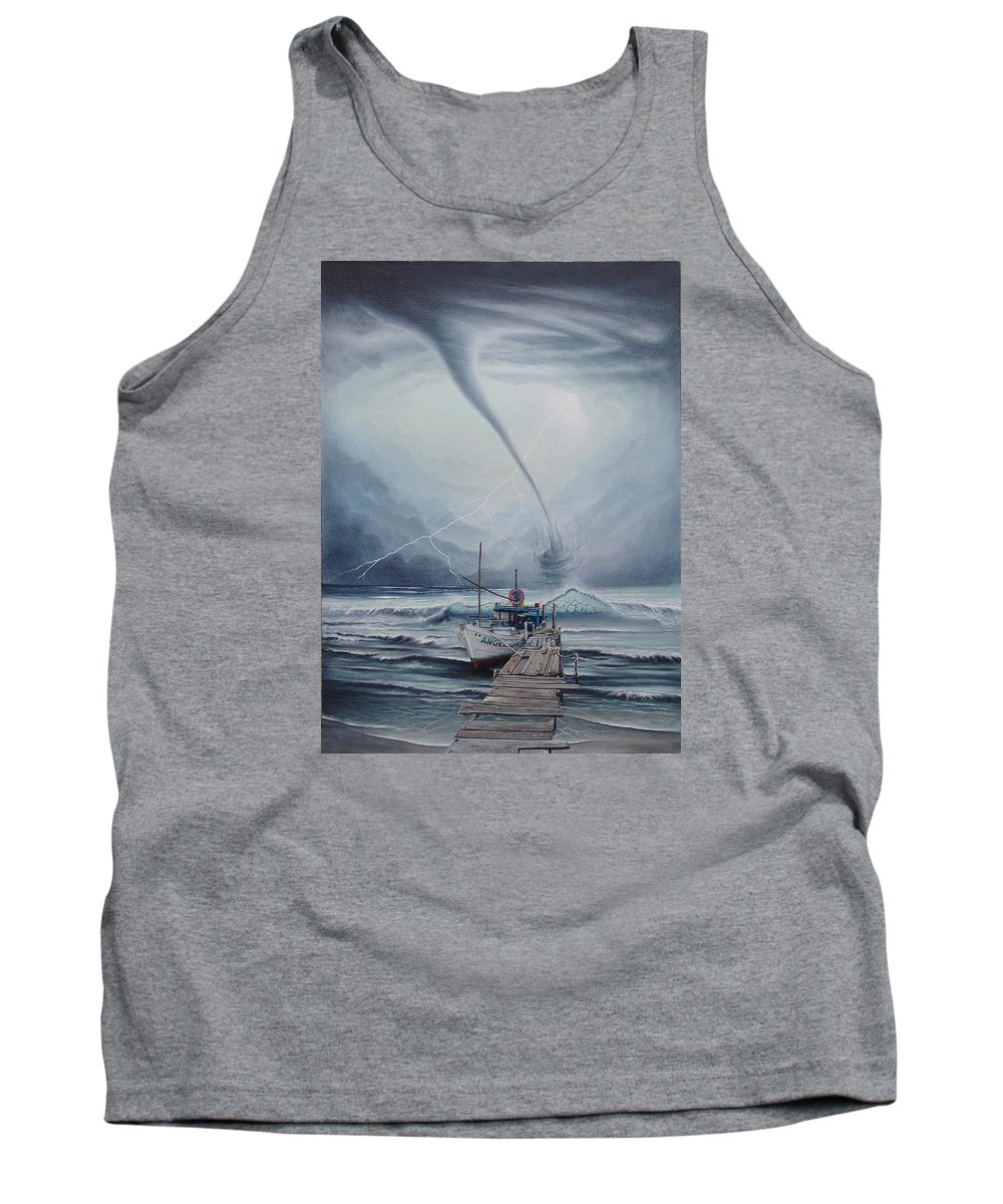 Seascape Tank Top featuring the painting Tifon   water sprout by Angel Ortiz