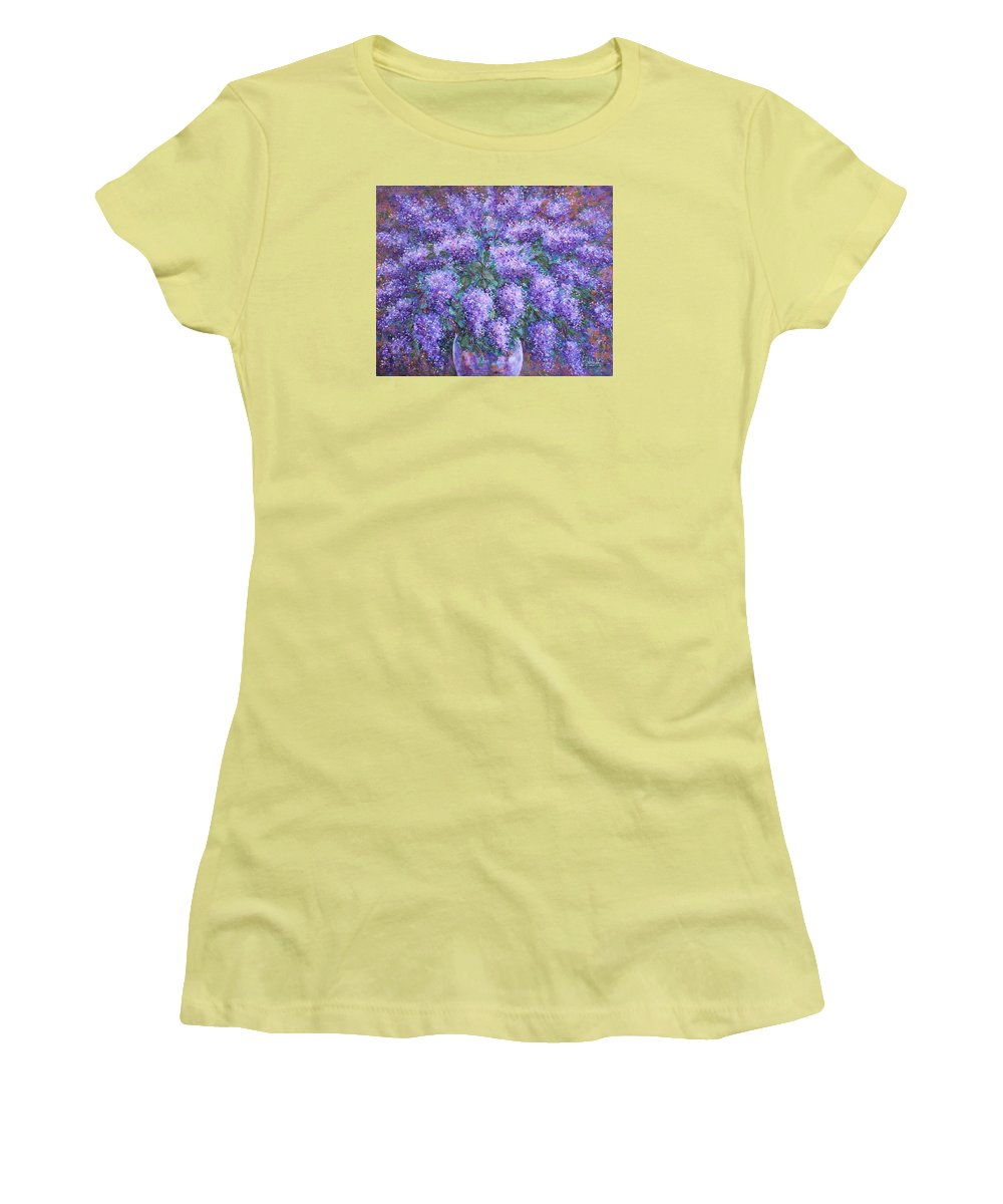 Flowers Women's T-Shirt (Athletic Fit) featuring the painting Scented Lilacs Bouquet by Natalie Holland