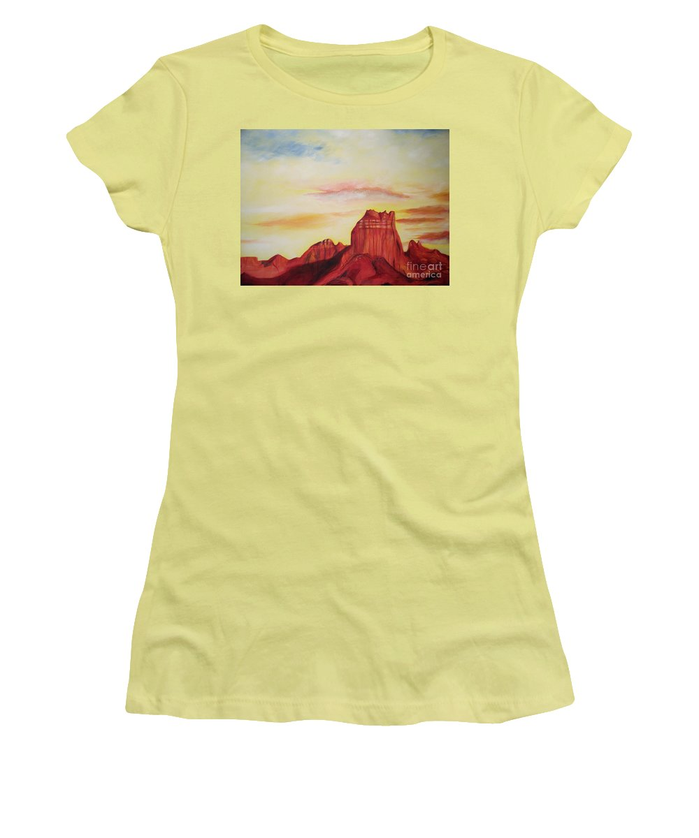 Western Women's T-Shirt (Athletic Fit) featuring the painting Sedona Az by Eric Schiabor