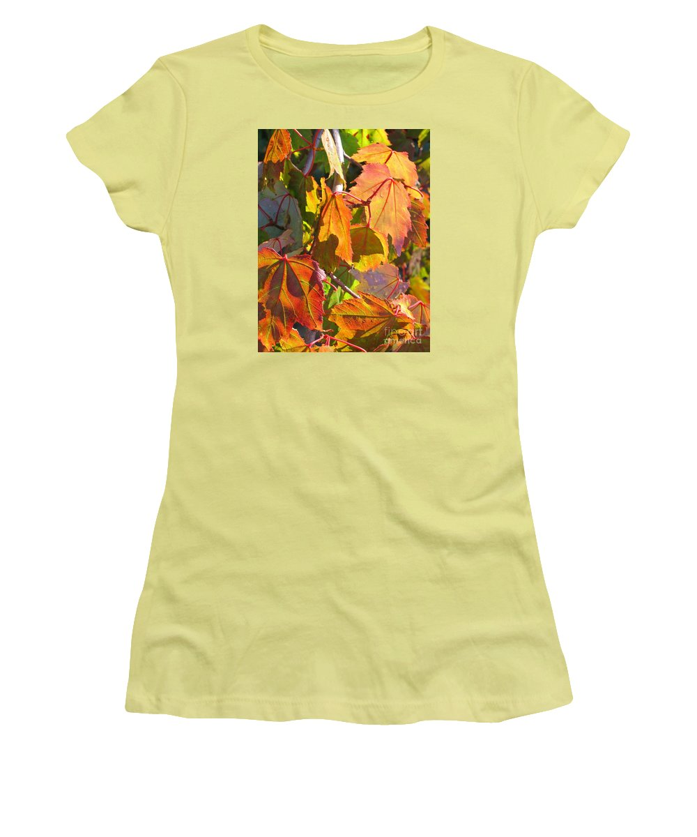 Autumn Women's T-Shirt (Athletic Fit) featuring the photograph Illumining Autumn by Ann Horn