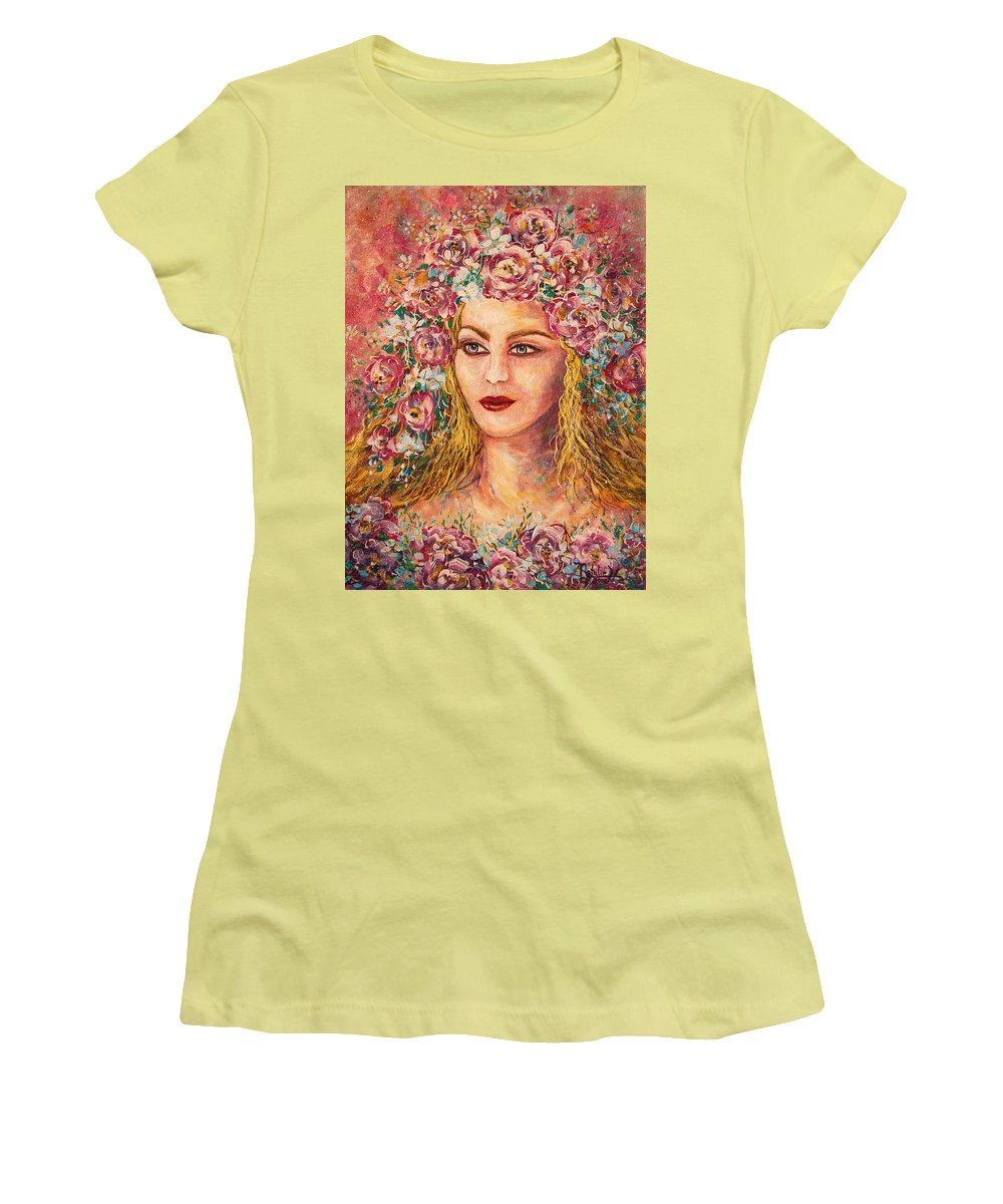Goddess Women's T-Shirt (Athletic Fit) featuring the painting Good Fortune Goddess by Natalie Holland