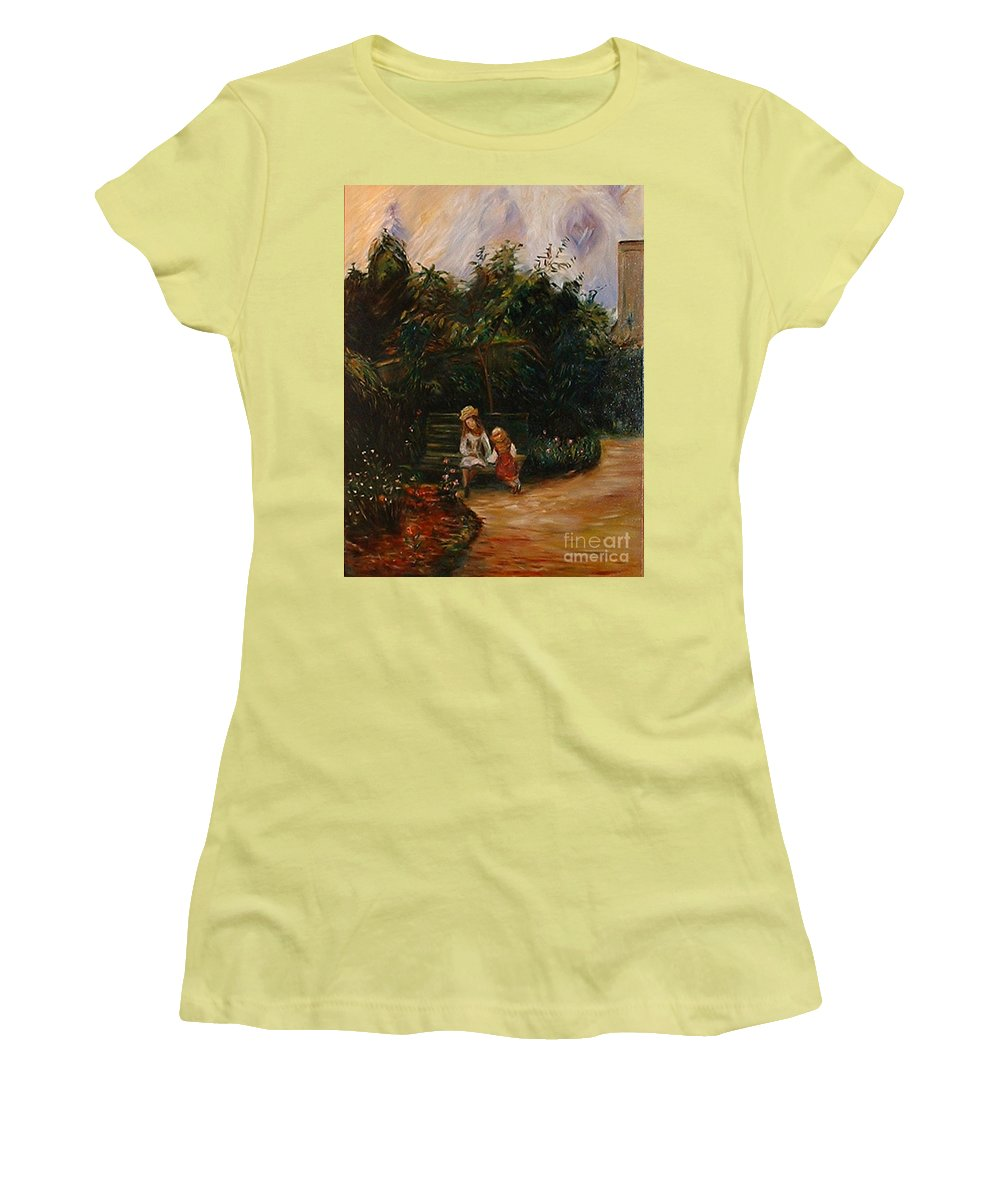 Classic Art Women's T-Shirt (Athletic Fit) featuring the painting A Corner Of The Garden At The Hermitage by Silvana Abel