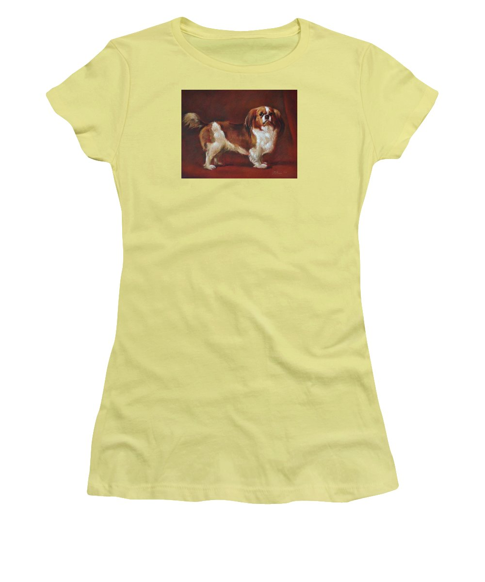 Pastel Women's T-Shirt (Athletic Fit) featuring the painting A King Charles Spaniel by Iliyan Bozhanov