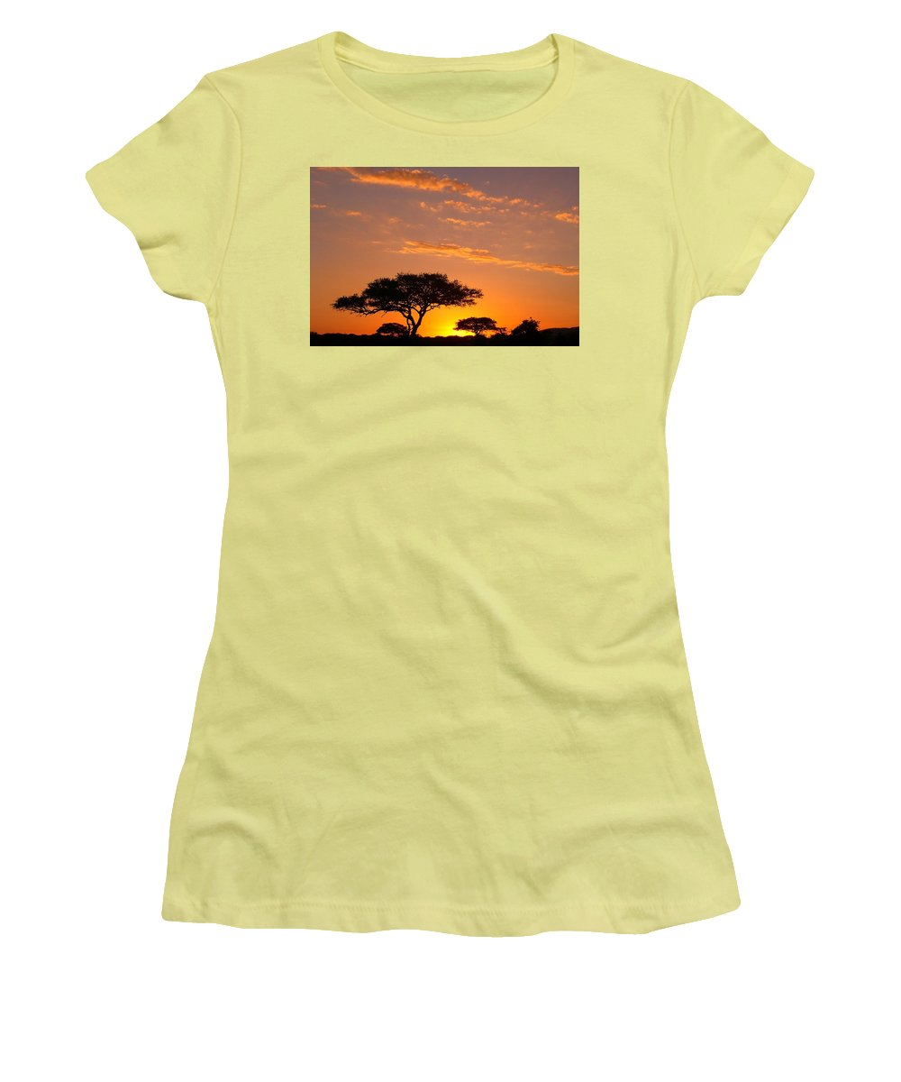 Africa Women's T-Shirt (Athletic Fit) featuring the photograph African Sunset by Sebastian Musial