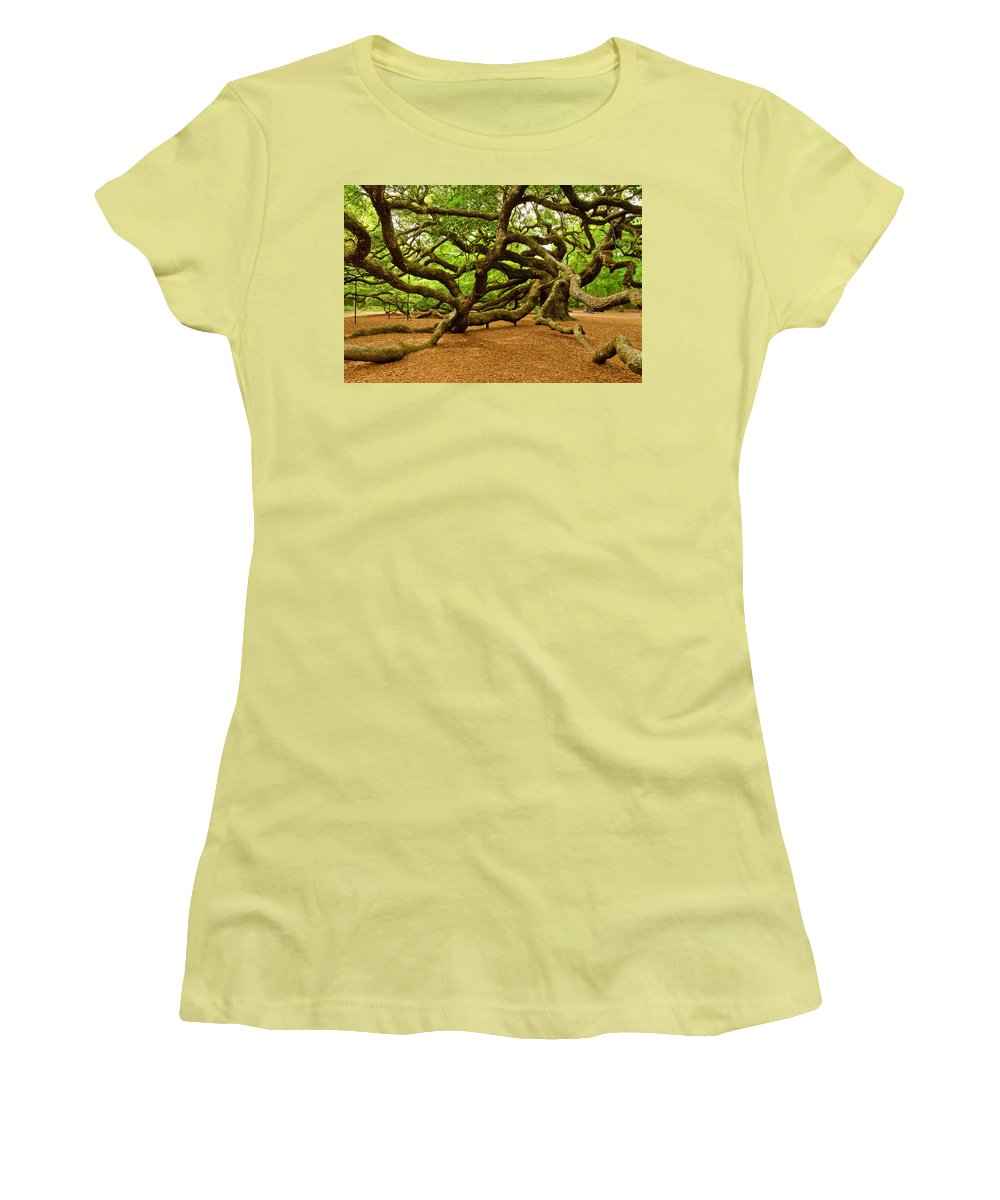 Nature Women's T-Shirt (Athletic Fit) featuring the photograph Angel Oak Tree Branches by Louis Dallara
