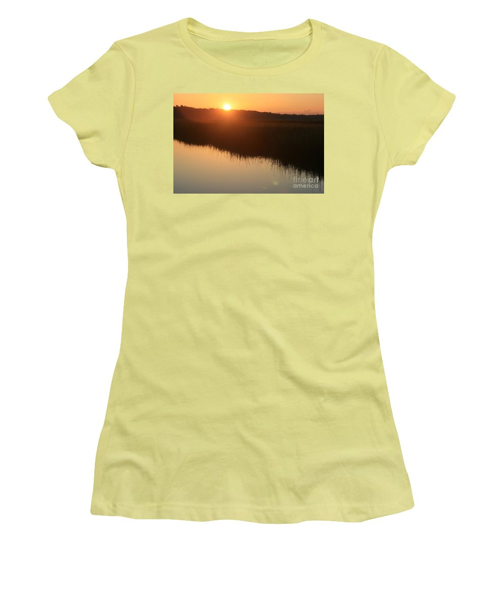 Sunrise Women's T-Shirt (Athletic Fit) featuring the photograph Autumn Sunrise Over The Marsh by Nadine Rippelmeyer