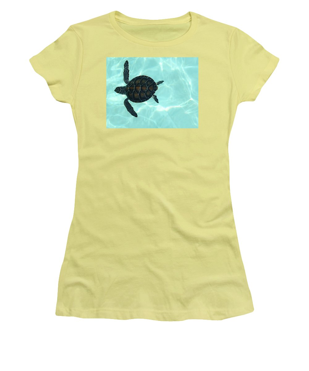 Baby Sea Turtle Women's T-Shirt (Athletic Fit) featuring the photograph Baby Sea Turtle by Ellen Henneke
