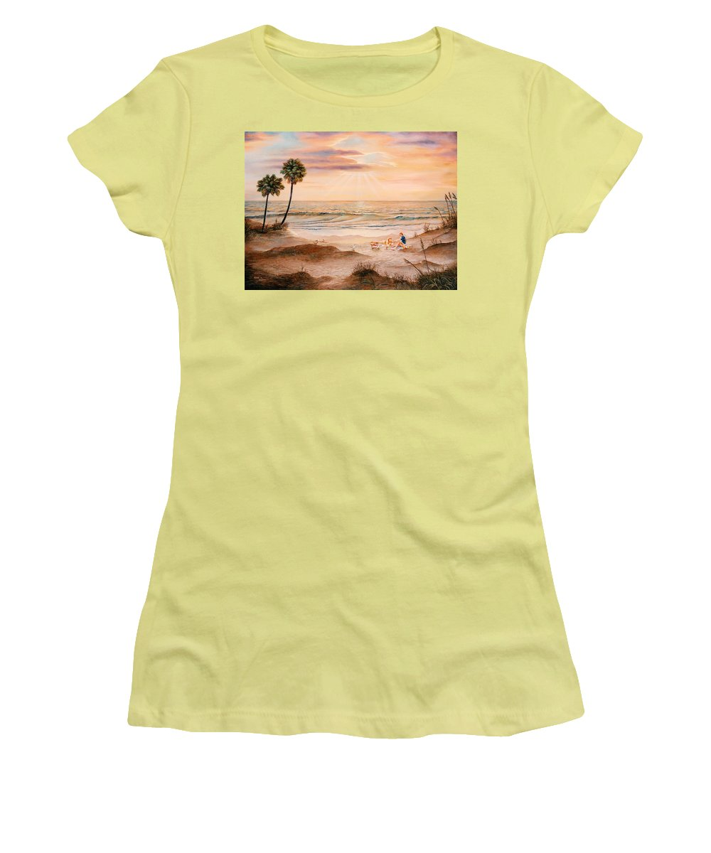 Beach Women's T-Shirt (Athletic Fit) featuring the painting Beachcombers by Duane R Probus