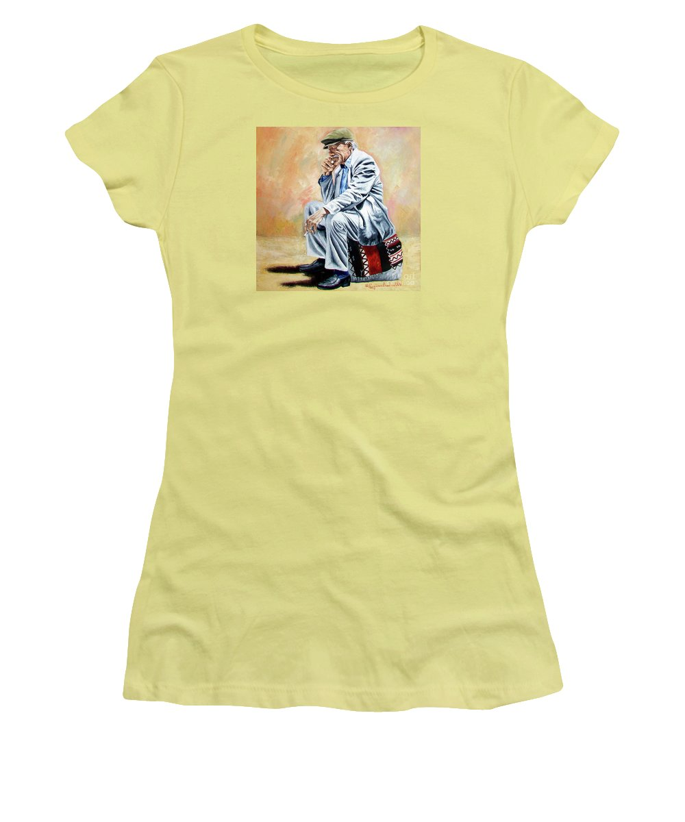 Figurative Women's T-Shirt (Athletic Fit) featuring the painting Break For Smoking - Apeadero Para Fumar by Rezzan Erguvan-Onal