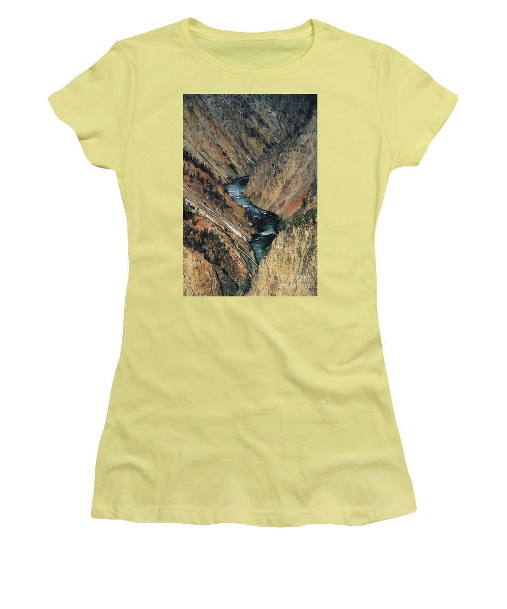Yellowstone Women's T-Shirt (Athletic Fit) featuring the photograph Canyon Jewel by Kathy McClure