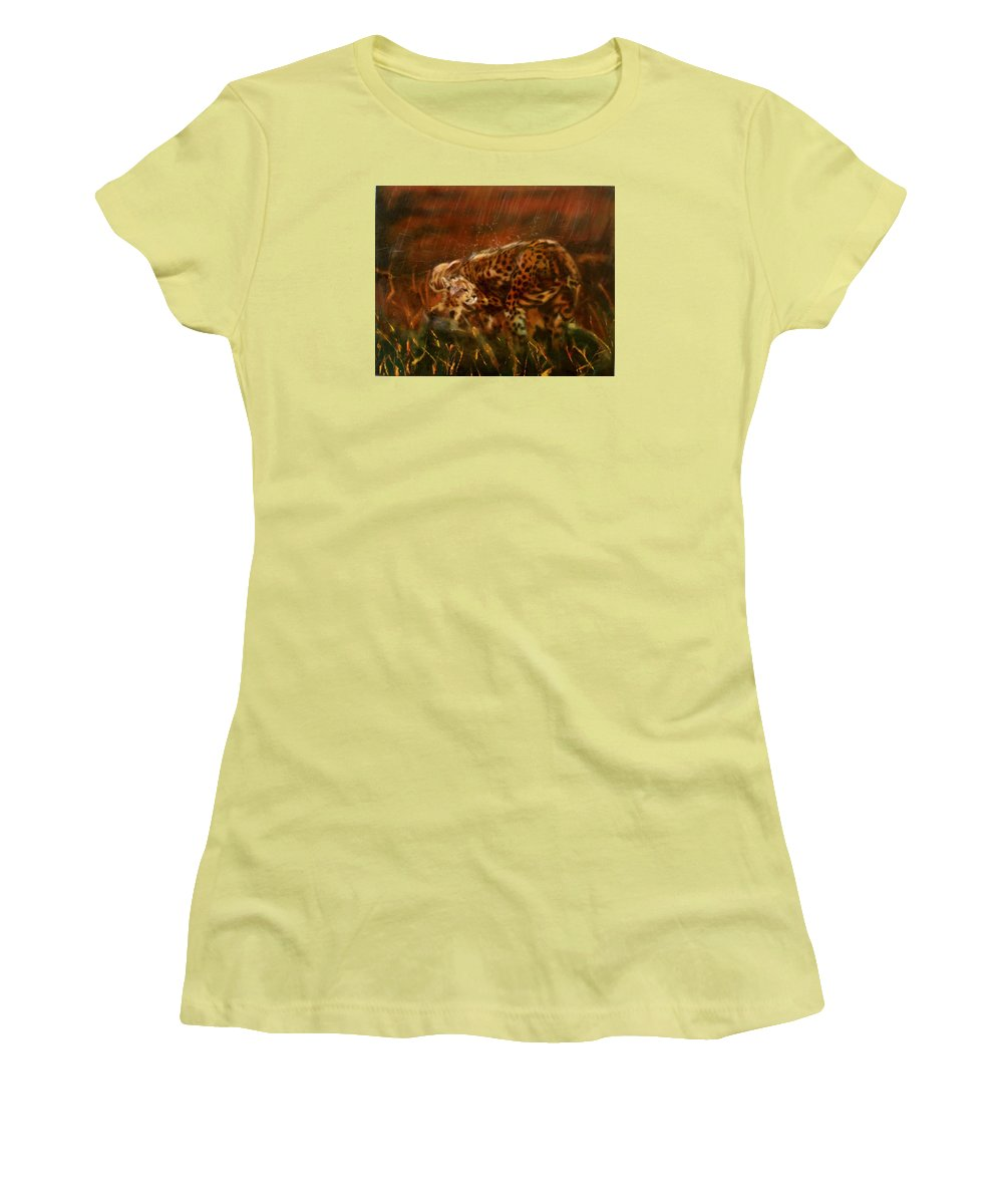 Rain;water;cats;africa;wildlife;animals;mother;shelter;brush;bush Women's T-Shirt (Athletic Fit) featuring the painting Cheetah Family After The Rains by Sean Connolly