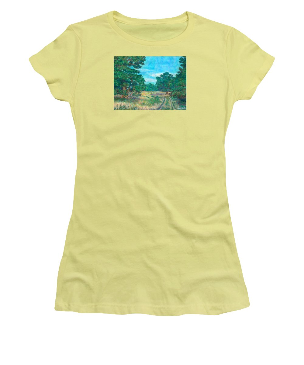 Landscape Women's T-Shirt (Athletic Fit) featuring the painting Dirt Road Near Rock Castle Gorge by Kendall Kessler