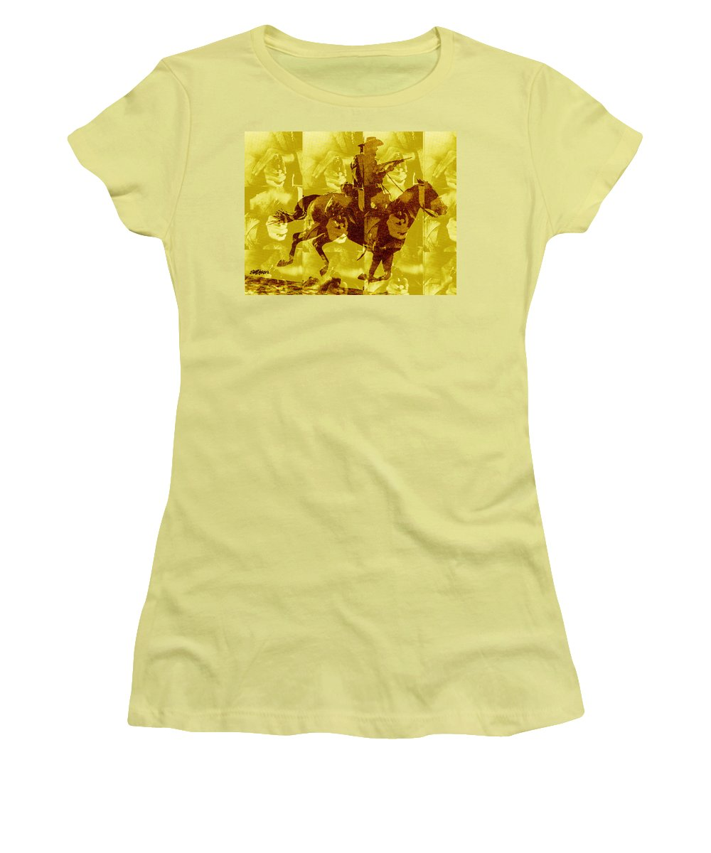 Clint Eastwood Women's T-Shirt (Athletic Fit) featuring the digital art Duel In The Saddle 1 by Seth Weaver