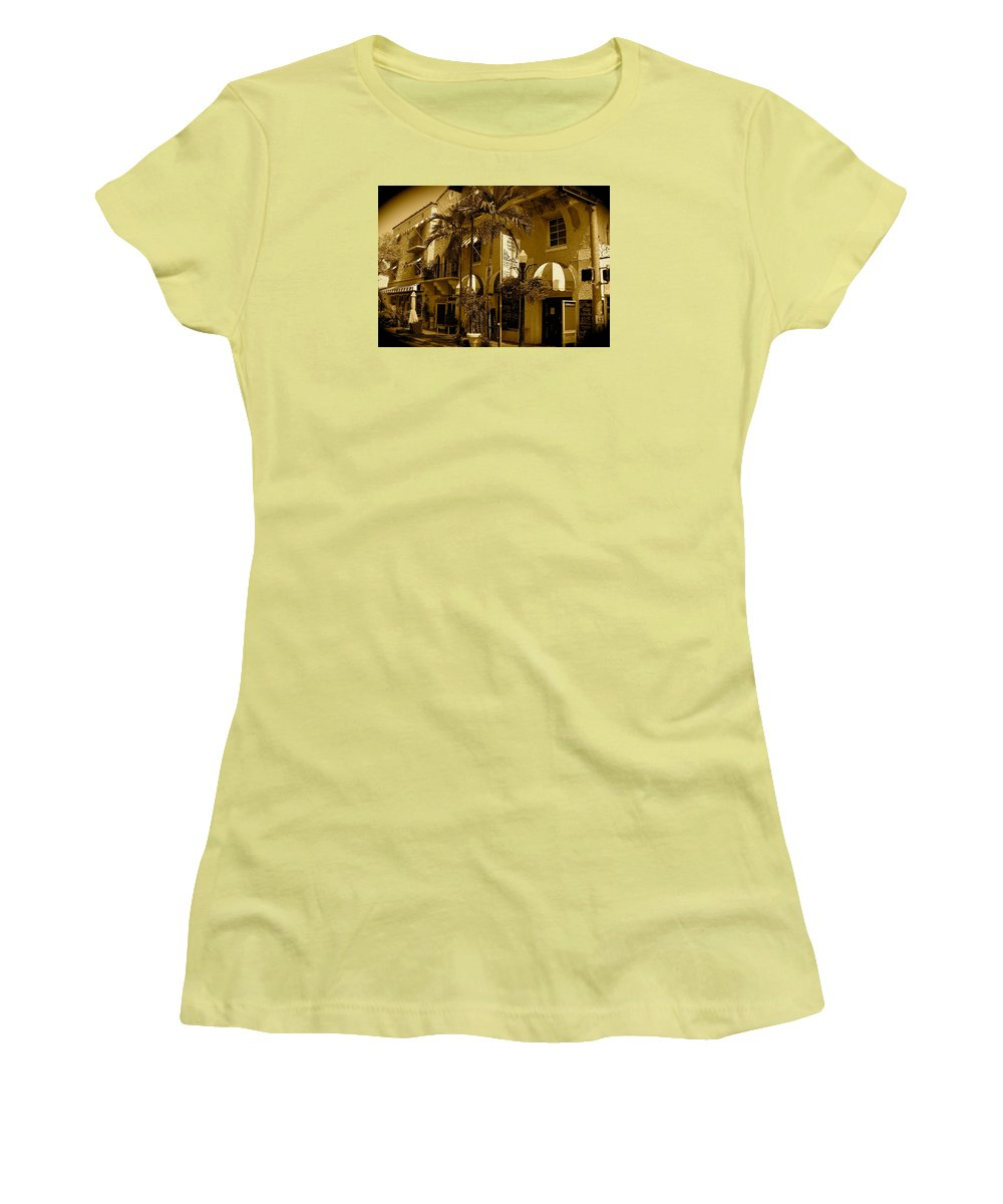Espanola Way Miami Print Women's T-Shirt (Athletic Fit) featuring the photograph Espanola Way In Miami South Beach by Monique's Fine Art