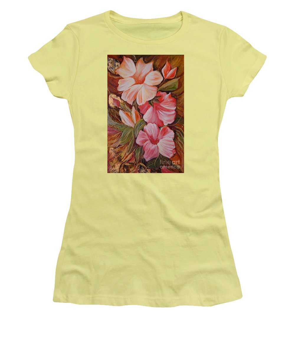 Modern Art Women's T-Shirt (Athletic Fit) featuring the painting Flowers II by Silvana Abel