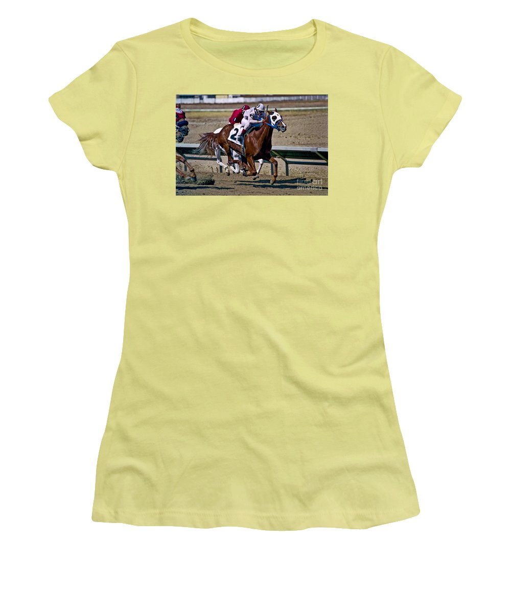 Racing Women's T-Shirt (Athletic Fit) featuring the photograph Flying Hooves by Kathy McClure
