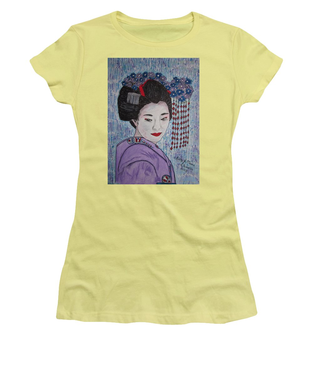 Oriental Women's T-Shirt (Athletic Fit) featuring the painting Geisha Girl by Kathy Marrs Chandler