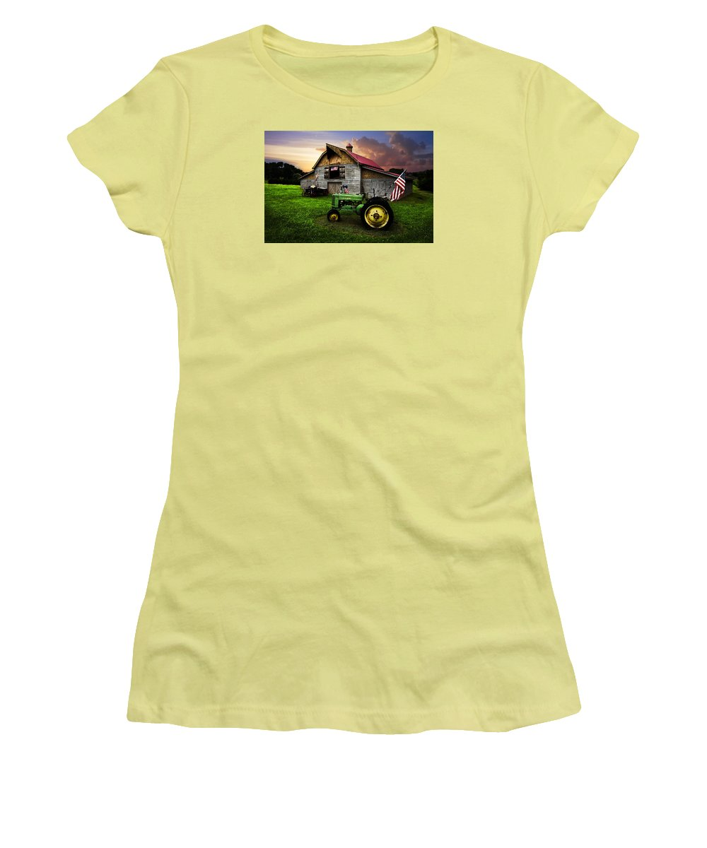 American Women's T-Shirt (Junior Cut) featuring the photograph God Bless America by Debra and Dave Vanderlaan